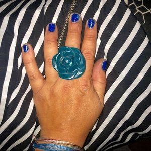 Earth Bound Trading Co. Huge Teal Flower Ring